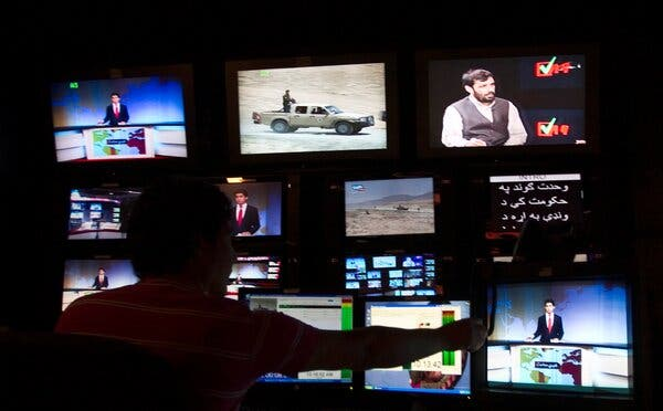 The control room at Tolo television, a broadcaster in Kabul.